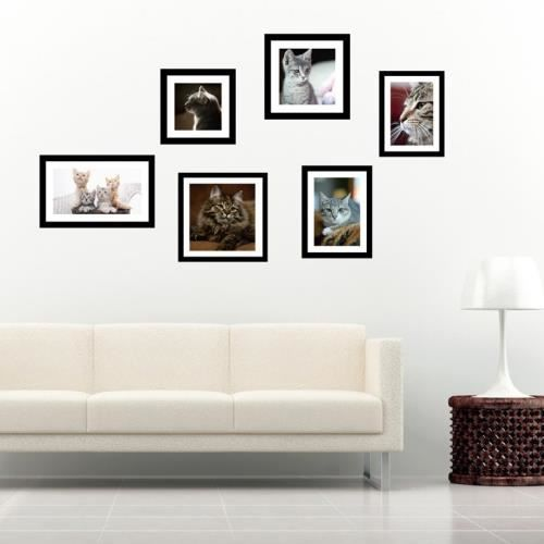 stickers muraux sticker mural pvc cadre photo chat 60 cm x 40cm achat vente stickers. Black Bedroom Furniture Sets. Home Design Ideas