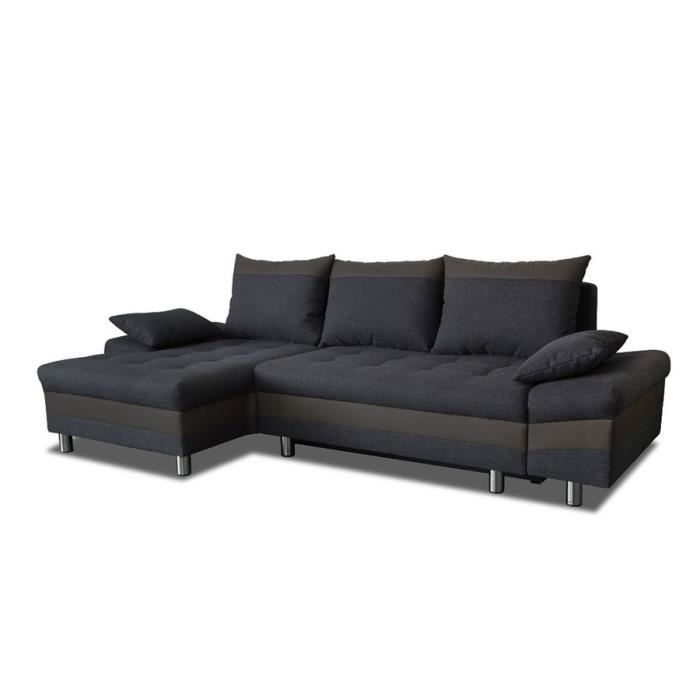 Canap D 39 Angle Convertible En Tissu Anthracite Et Pu Taupe