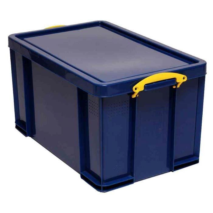 Bo te plastique 84 l opaque bleu recycl couv achat - Grande boite de rangement plastique ...