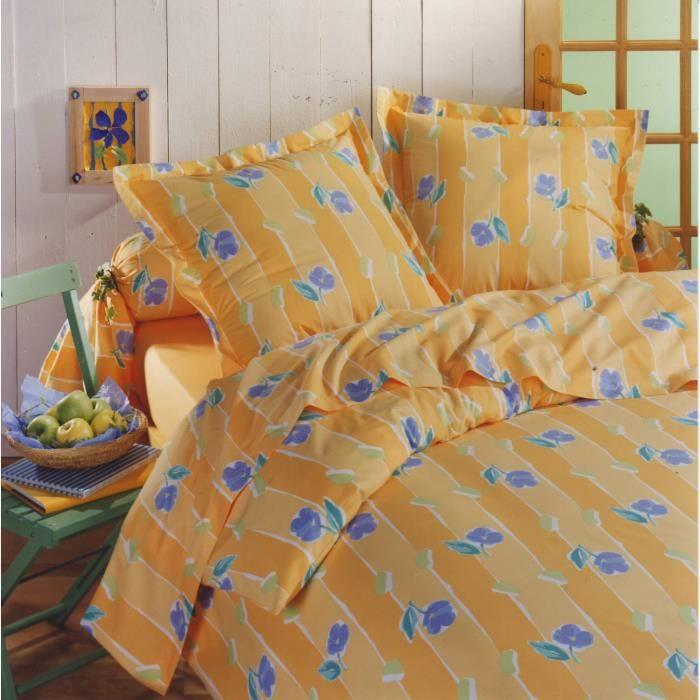 parure housse de couette en 100 coton carla jaune 240x220 cm 2 taies d oreiller 65x65 cm