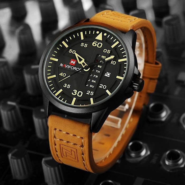 top luxe marque naviforce hommes sport montres hommes quartz date horloge homme en cuir arm e. Black Bedroom Furniture Sets. Home Design Ideas