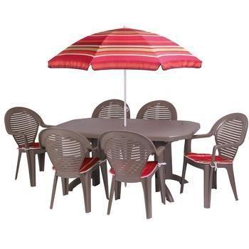 Table de jardin vega 165 cm parasol 6 couss achat - Table de jardin avec parasol ...