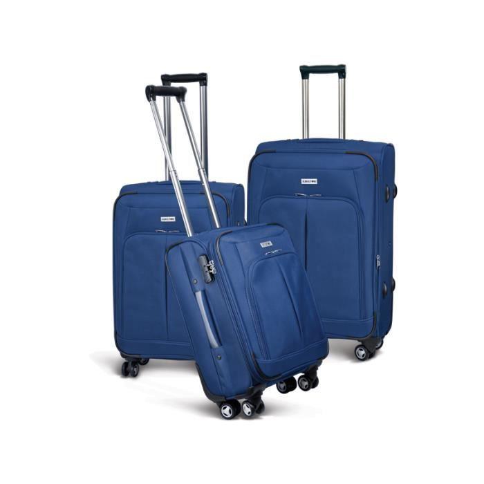 bagage kinston lot de 3 valise tissu 4 roues bleu bleu. Black Bedroom Furniture Sets. Home Design Ideas