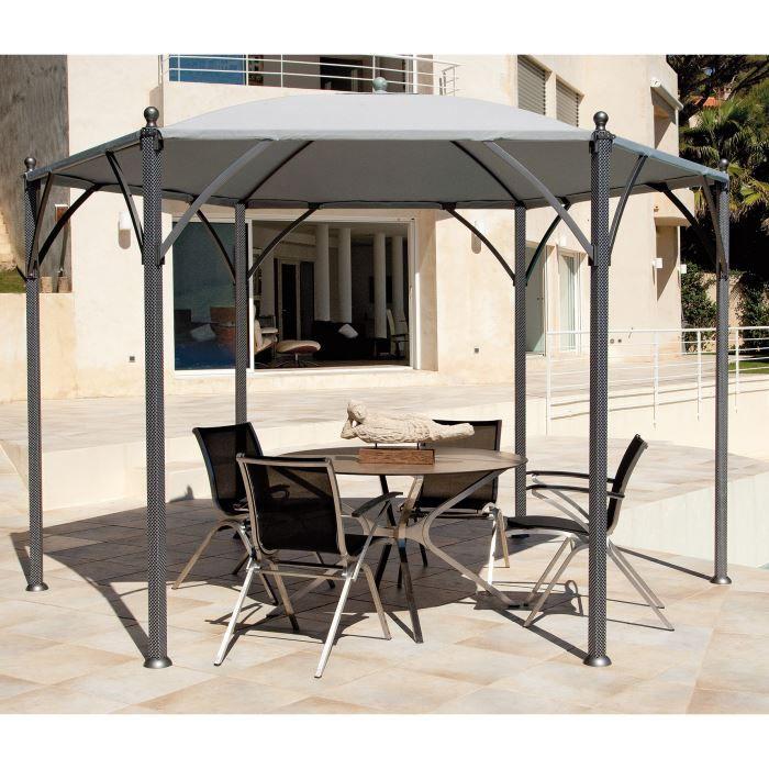 tonnelle hexagonale grise textil ne loci 3 5 m. Black Bedroom Furniture Sets. Home Design Ideas