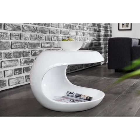 Table d appoint design blanc laque verseau 45cm achat - Table d appoint laque blanc ...
