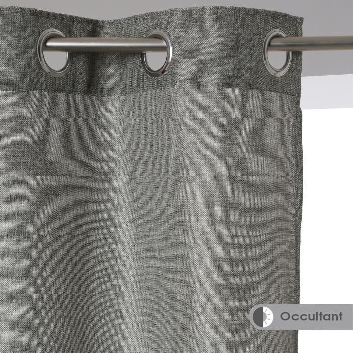rideau rideau effet jute 140 x 260 cm gris fonc - Model Rideau