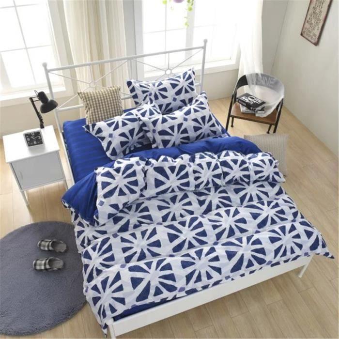 parure de couette parure de lit les carr s bleus 1 housse. Black Bedroom Furniture Sets. Home Design Ideas