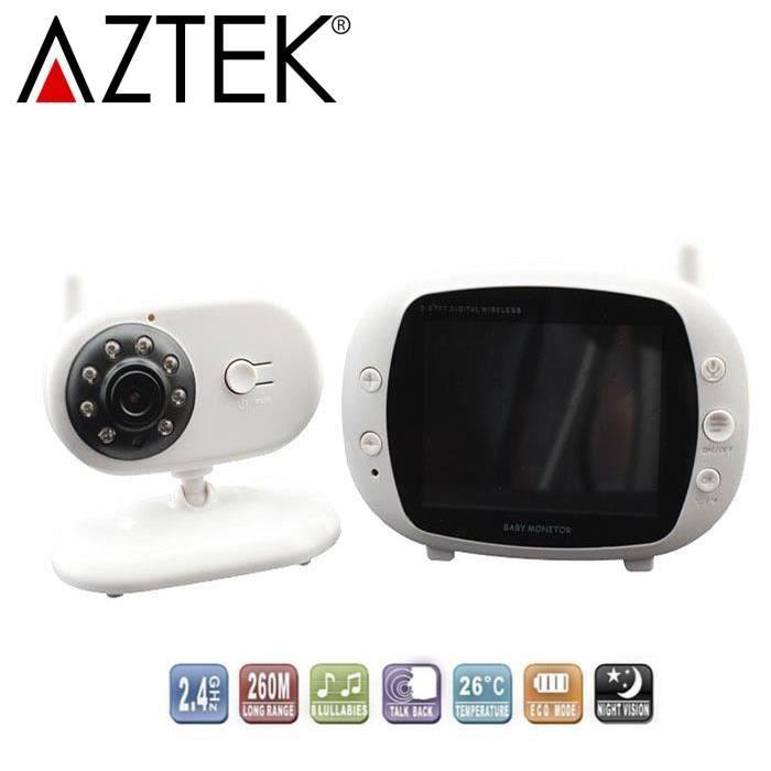 babyphone vid o camera b b sans fil de surveillance 2 4ghz blanc blanc achat vente coute. Black Bedroom Furniture Sets. Home Design Ideas