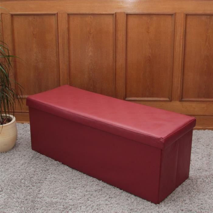 banc avec coffre de rangement 110x43x40 cm rouge achat. Black Bedroom Furniture Sets. Home Design Ideas
