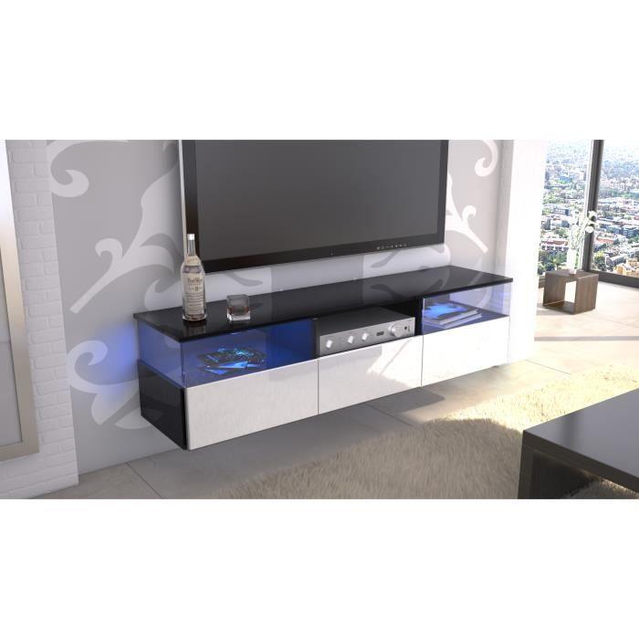 meuble tv noir et blanc mural 146 cm laqu achat vente meuble tv meuble tv noir et blanc mu. Black Bedroom Furniture Sets. Home Design Ideas