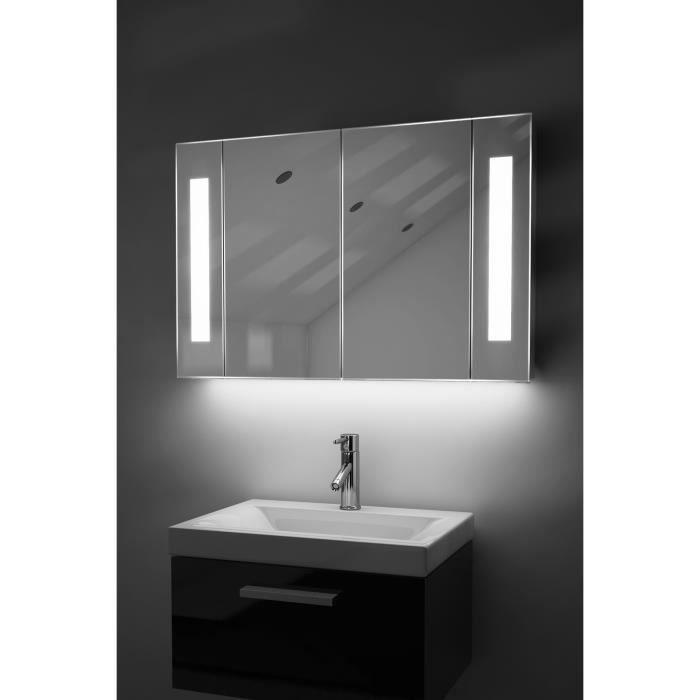 armoire de toilette anti bu e avec capteur et prise rasoir interne k120w blanc taille l 600mm. Black Bedroom Furniture Sets. Home Design Ideas