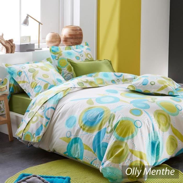 parure de lit 200x200 cm 100 coton olly menthe achat. Black Bedroom Furniture Sets. Home Design Ideas