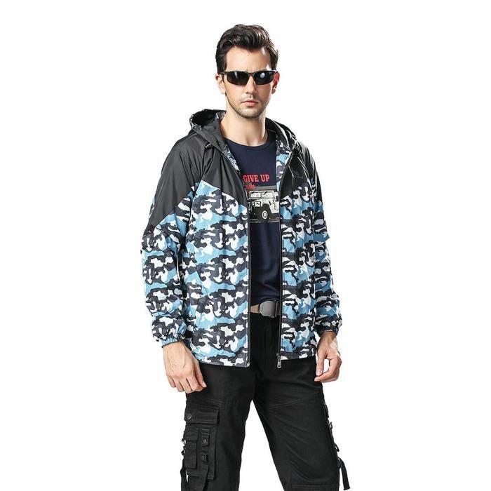 hommes en tenue de camouflage veste capuche manteau bleu. Black Bedroom Furniture Sets. Home Design Ideas