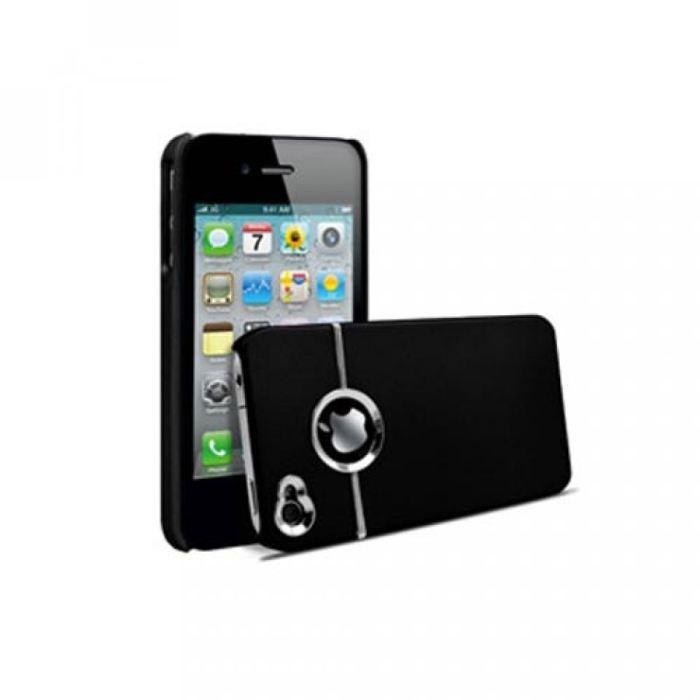 coque rigide nzup chrome noire pour iphone 4 4s achat. Black Bedroom Furniture Sets. Home Design Ideas