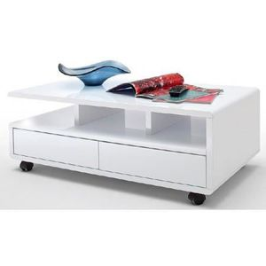 Table Basse Design Blanc Laqu 2 Tiroirs Christina Achat