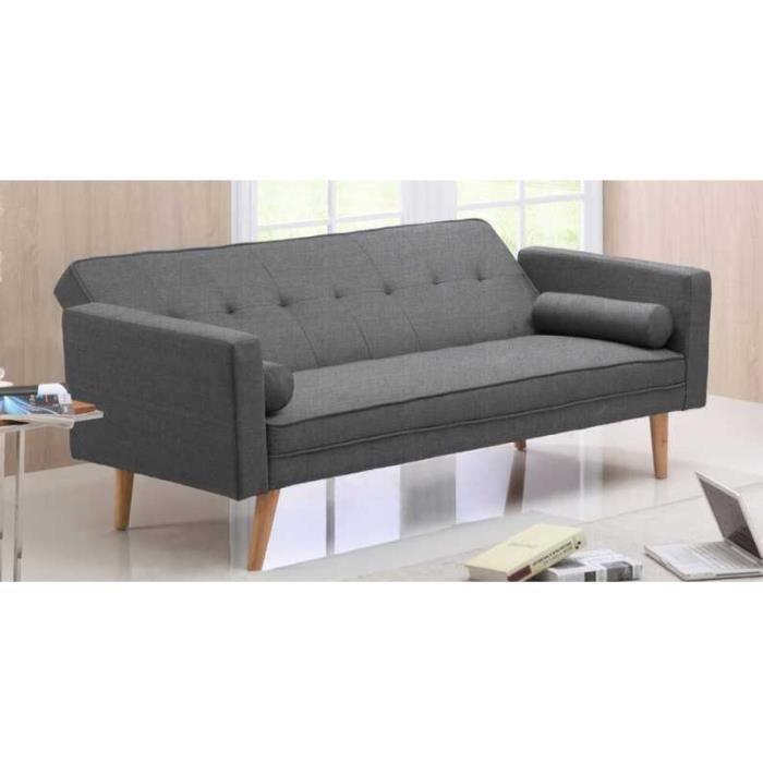 canap 3 palces convertible tissu noir avec pieds en bois victoria achat vente clic clac. Black Bedroom Furniture Sets. Home Design Ideas