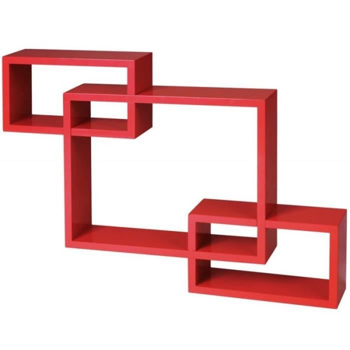 Tag re murale x3 cube design pour livres d coration rouge for Etagere chambre d enfant