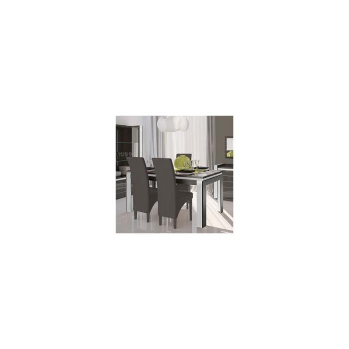 Table de salle manger laqu e grise et blanche lodi 3 for Salle a manger grise et blanche