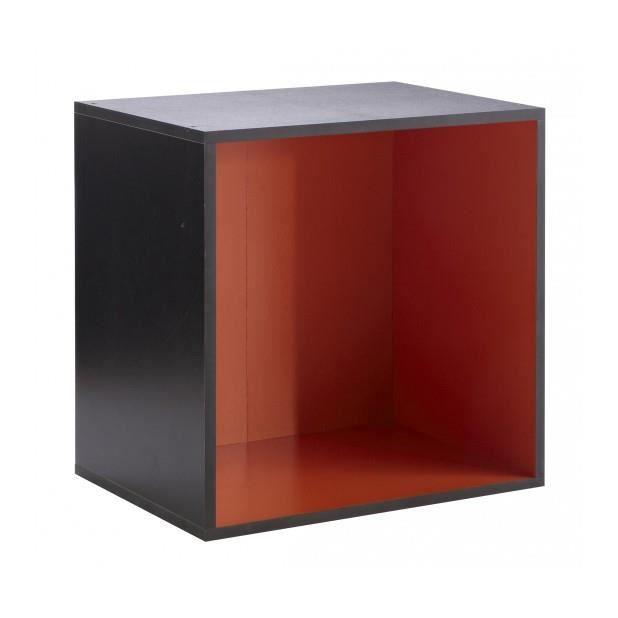 Caisson 1 niche carre 39 rainbow 39 noir orange achat - Meuble rangement carre ...
