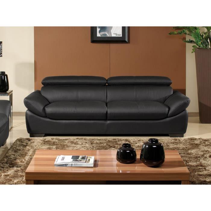 canap cuir luxe 3 places borneo noir achat vente. Black Bedroom Furniture Sets. Home Design Ideas