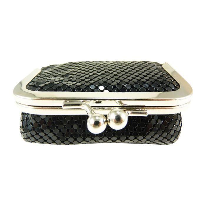 Porte monnaie bourse femme fermoir clic clac strass miroir de poche noi - Clic clac petite taille ...