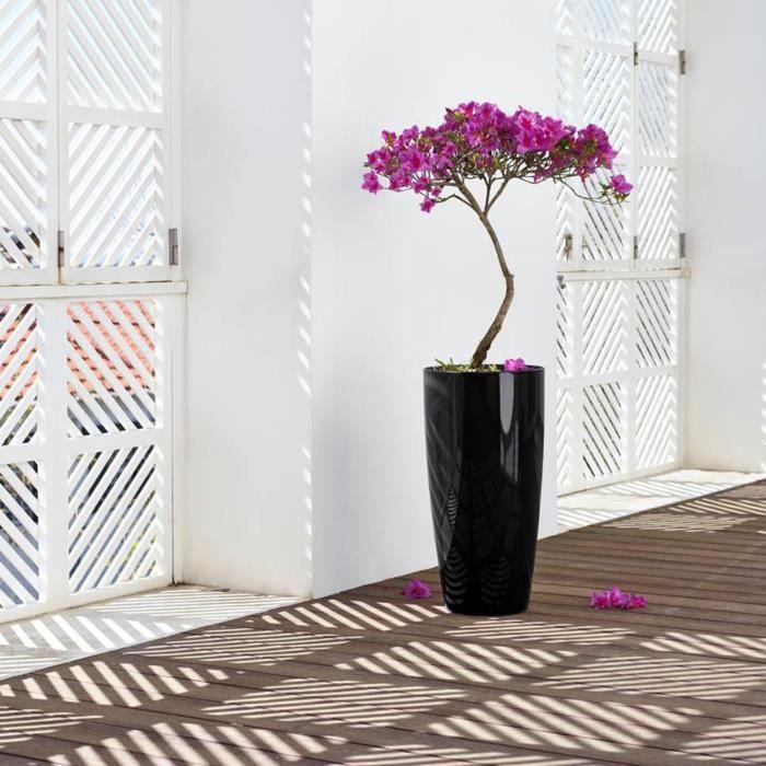 vase pot design evas haut santorini 26 cm h40 cm noir achat vente jardini re pot fleur. Black Bedroom Furniture Sets. Home Design Ideas
