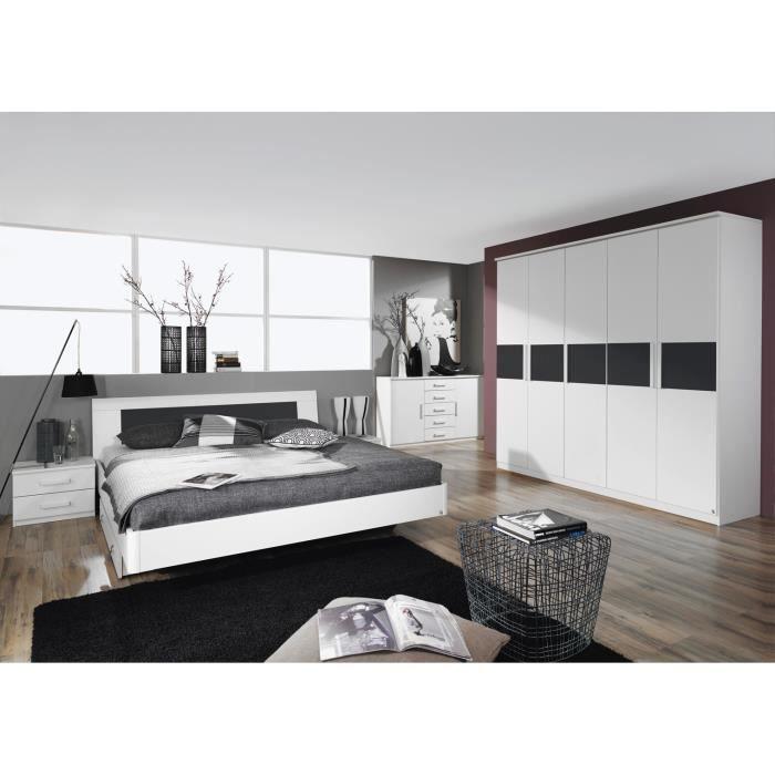 Chambre adulte design blanche carcassonne 160 x 200 cm - Chambre design blanche ...