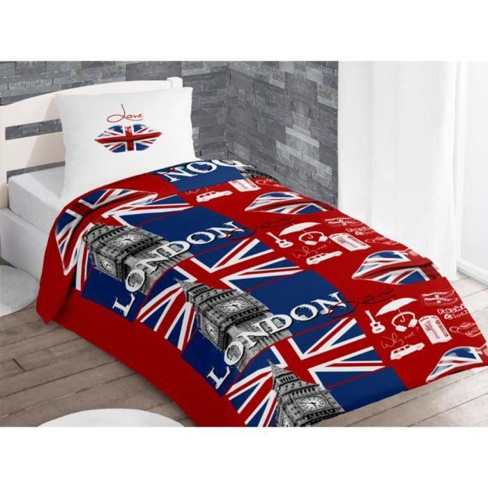 parure housse de couette coton 140x200 cm london love rouge par soleil d 39 ocre achat vente. Black Bedroom Furniture Sets. Home Design Ideas