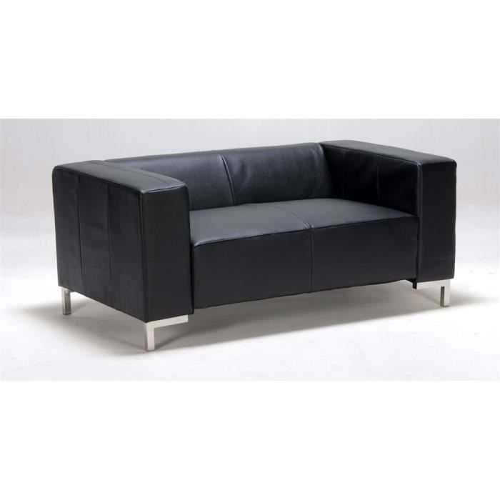 canap 2 places switsofa diva simili cuir noir achat vente canap sofa divan cdiscount. Black Bedroom Furniture Sets. Home Design Ideas