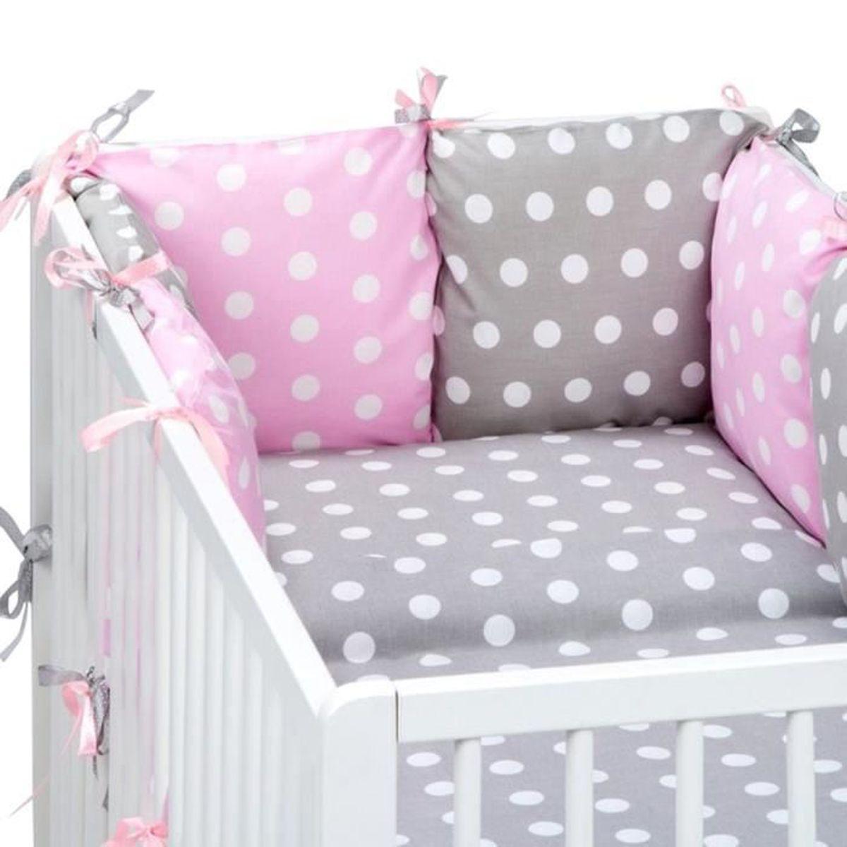 set lit b b tour de lit couette housses gris 70x140 cm. Black Bedroom Furniture Sets. Home Design Ideas