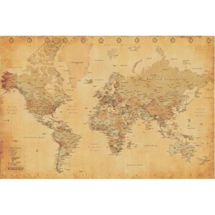 cartes poster carte du monde style r tro en achat vente affiche cdiscount. Black Bedroom Furniture Sets. Home Design Ideas