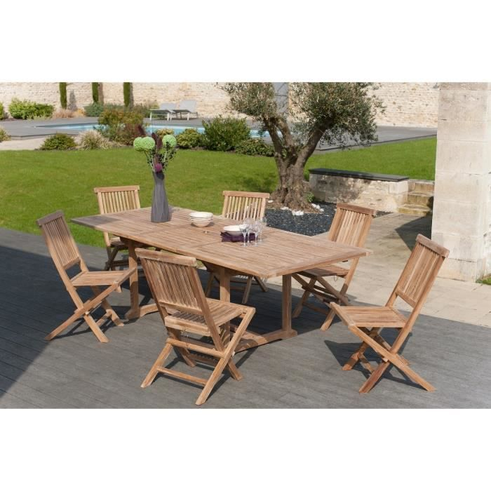 Ensemble table extensible 180 240 cm 6 chaises en teck - Salon de jardin teck carbon blanc ...