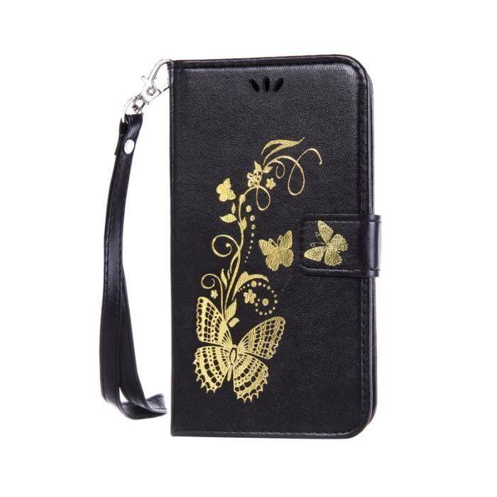 Housse etui folio portefeuille wiko lenny 2 noir fleur for Housse wiko lenny 2