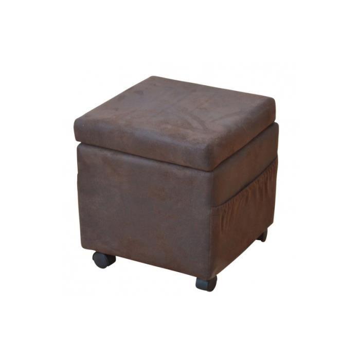 pouf coffre tabouret mdf tissu roulette 45x42x42cm achat. Black Bedroom Furniture Sets. Home Design Ideas