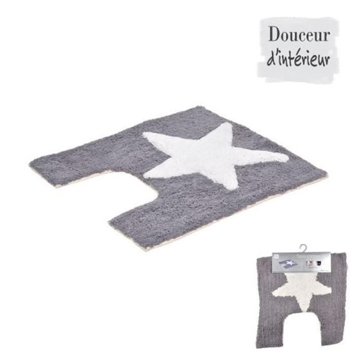 Contour de toilette 100 coton 55x50 cm gris t achat vente tapis de b - Tapis coton pas cher ...