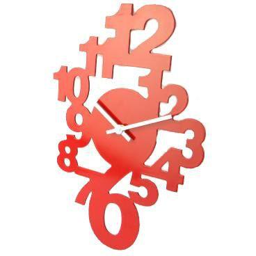 Horloge murale design en bois rouge achat vente for Horloge design pour salon