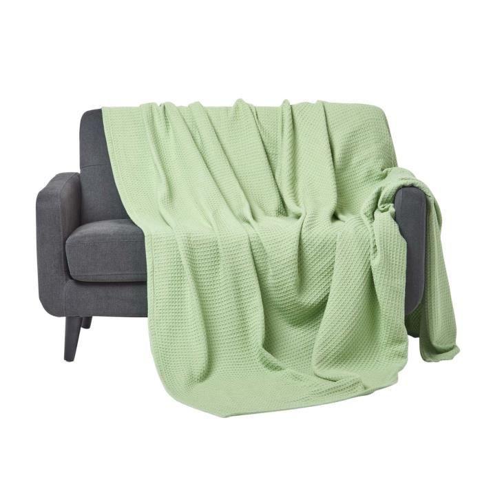 Couverture naturelle en coton bio coloris vert sauge 228 x - Couverture en coton ...