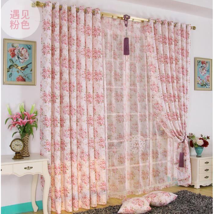 Petits imprim s fleuris fen tre de main rideaux pour le for Rideau pour fenetre de salon