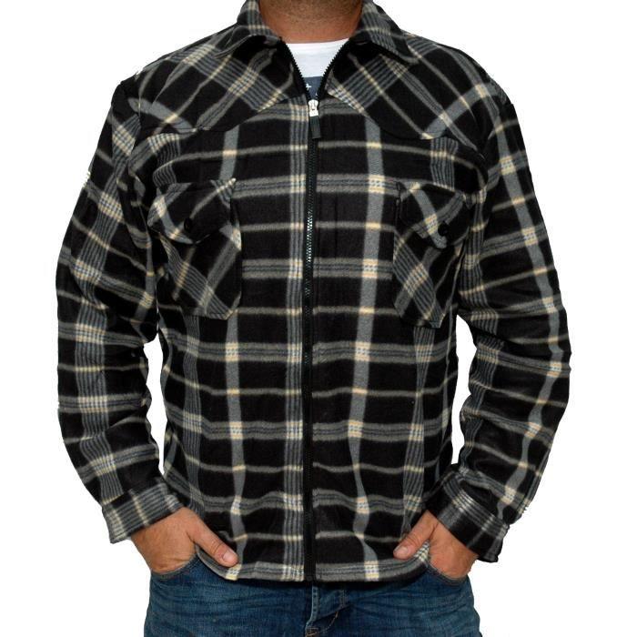 chemise a carreaux polaire homme fermeture clair tr s chaude confort noir gris et beige noir. Black Bedroom Furniture Sets. Home Design Ideas