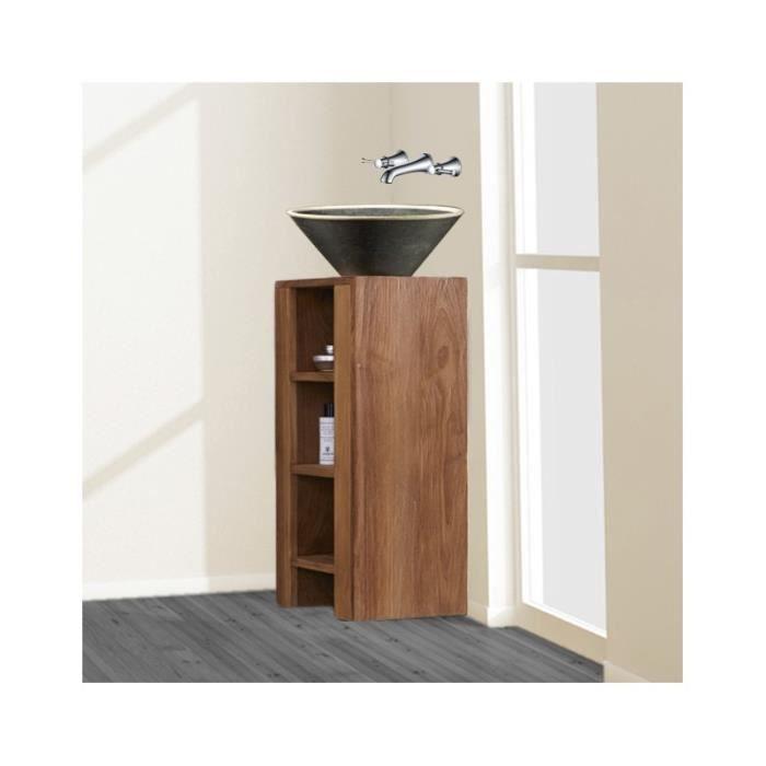 meuble sous vasque teck 80x40 cm fit 42 000000 clair achat vente meuble vasque plan. Black Bedroom Furniture Sets. Home Design Ideas