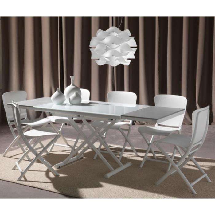 Napolita table basse relevable et extensible en verre for Table basse et haute a la fois