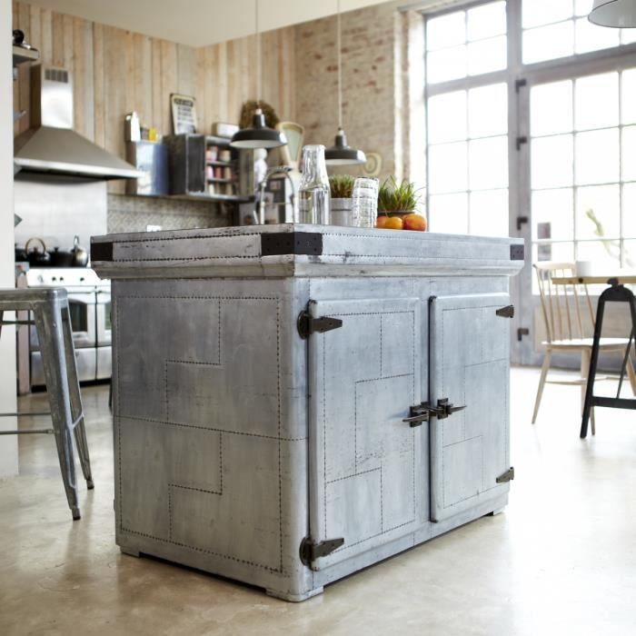 Il t central en zinc toby achat vente meuble vasque plan il t central e - Ilot central dimension ...