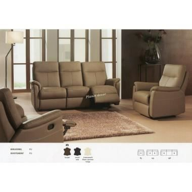 salon 3 2 1 cuir relax modele lucas taupe achat. Black Bedroom Furniture Sets. Home Design Ideas