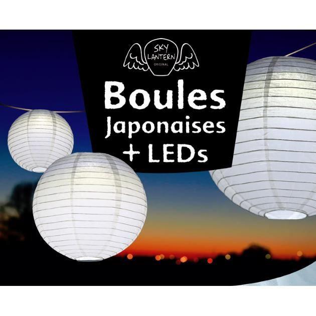 Lot de 3 boules japonaises papier blanches 3 leds achat vente lot de 3 bo - Suspension 3 boules japonaises ...