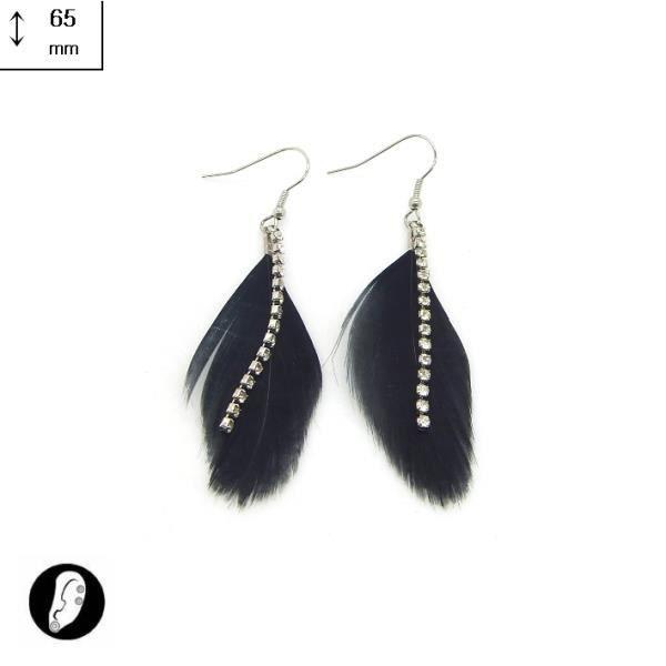 boucles d 39 oreilles plume noir avec strass achat vente boucle d 39 oreille boucles d 39 oreilles. Black Bedroom Furniture Sets. Home Design Ideas