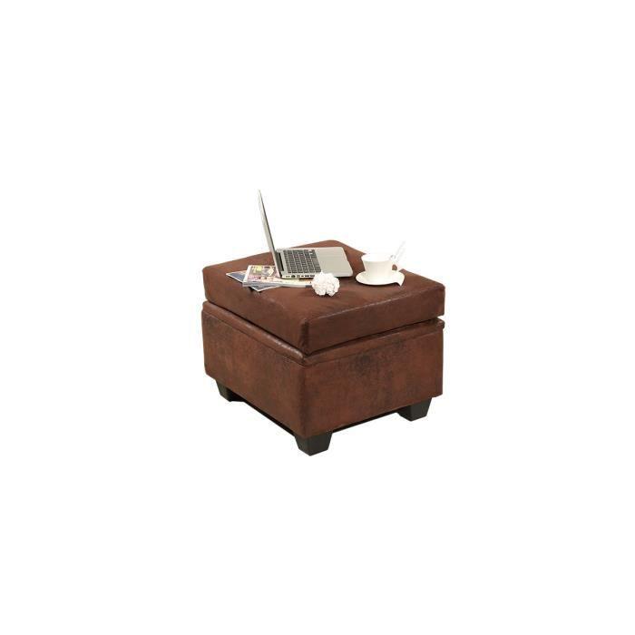 Miliboo pouf coffre design effet cuir vieilli achat vente pouf poire cuir bois tissu for Pouf cuir vieilli