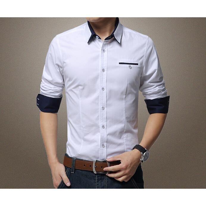 collection de l 39 automne hiver chemise homme d c blanc achat vente chemise chemisette. Black Bedroom Furniture Sets. Home Design Ideas