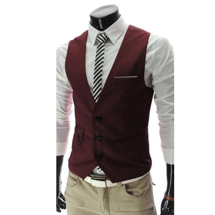 boom fashion gilet de costume sans manches slim fit pour homme rouge 1 achat vente gilet de. Black Bedroom Furniture Sets. Home Design Ideas