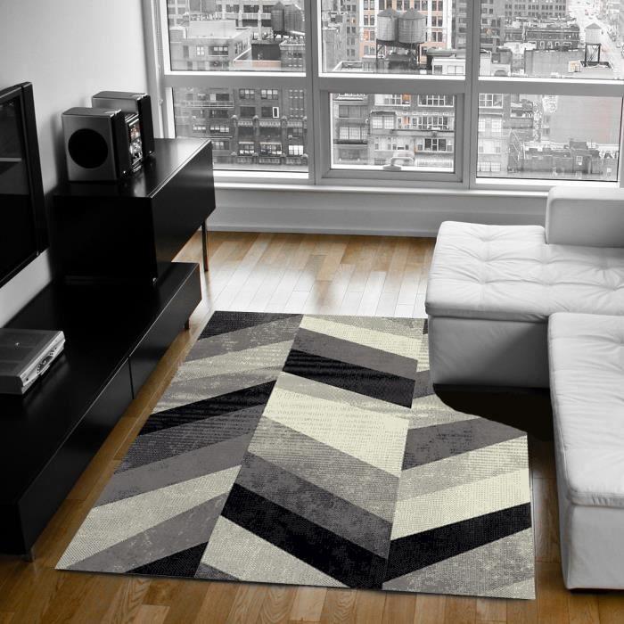 Belis tapis de salon 160x230 cm gris noir et blanc achat vente tapis 100 - Tapis salon noir et blanc ...