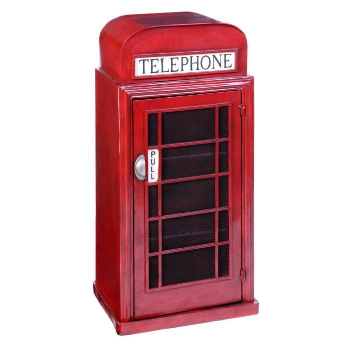 Meuble tag re en m tal london l 48 x p34 5 x achat vente meuble ta - Meuble cabine telephonique anglaise ...